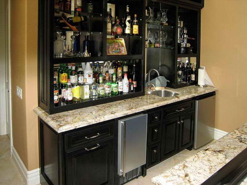 Built In Wet Bar Ideas: Modern Wet Bar Cabinets With