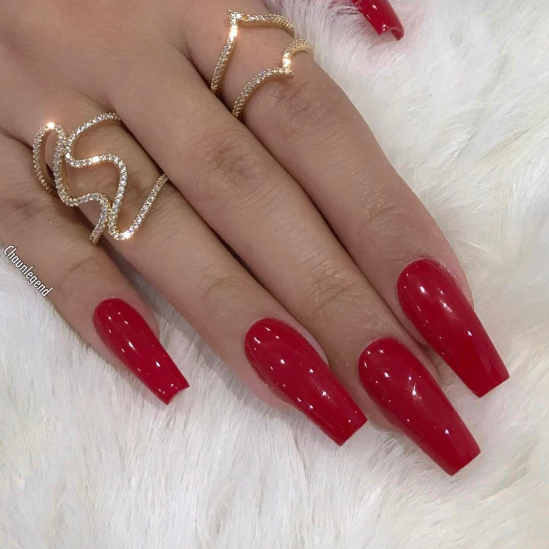 See This Instagram Photo By Chaunlegend 6 571 Likes Red Acrylic Nails Red Nails Long Red Nails