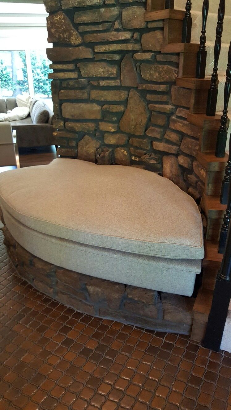 Unusual shaped cushions are  a challenge! Customer will be adding pillows for this entry area.