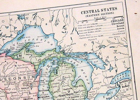 Small Antique Map Us State Map Central States Eastern Section - Us-map-sections