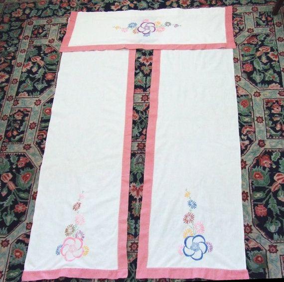 Crewel Work Curtain Panels