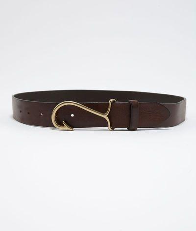 Men 39 s belts fish hook leather belt for men vineyard for Fish hook belt