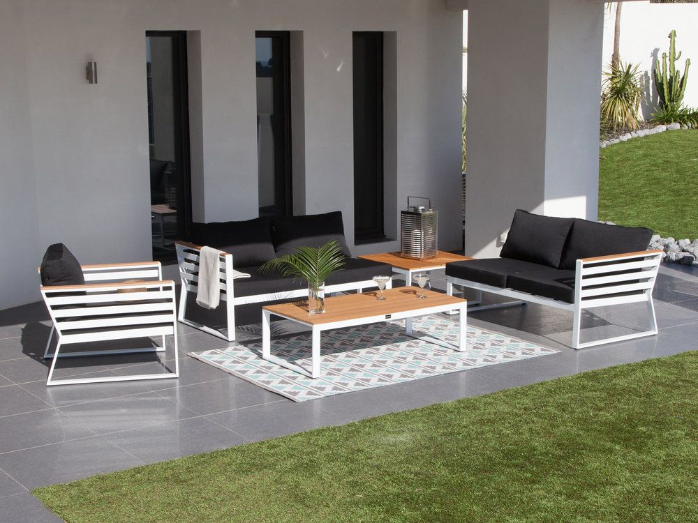 Salon de jardin composé de : 2 Canapés modulables 1 Fauteuil bas 1 ...