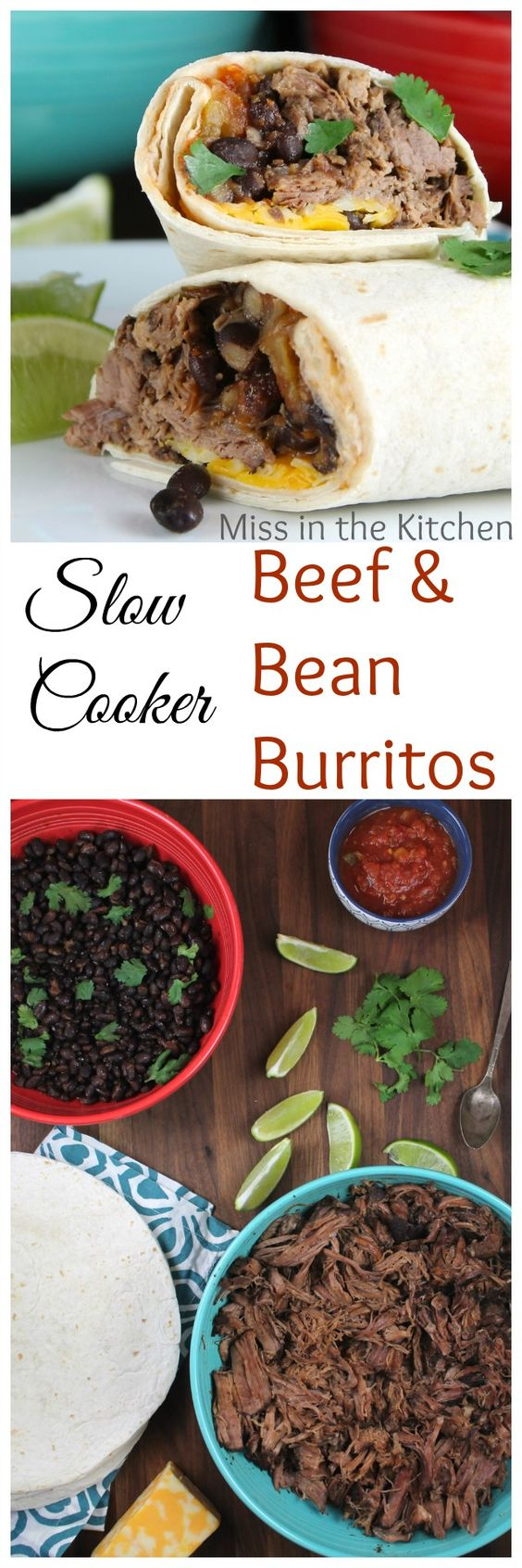 Slow Cooker Beef & Bean Burritos Recipe found at MissintheKitchen.com