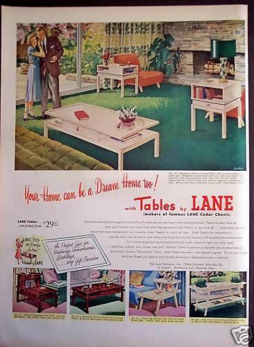 1952 Original Tables By Lane Home Decor Vintage Ad Vintage House Vintage Furniture Vintage Interiors