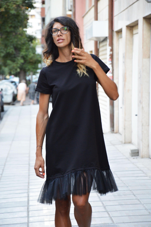 Cotton short sleeve dress summer dress black midi dress
