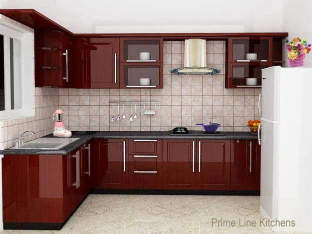 Maroon Neat Simple Elegant Modular Kitchen Cabinets Simple