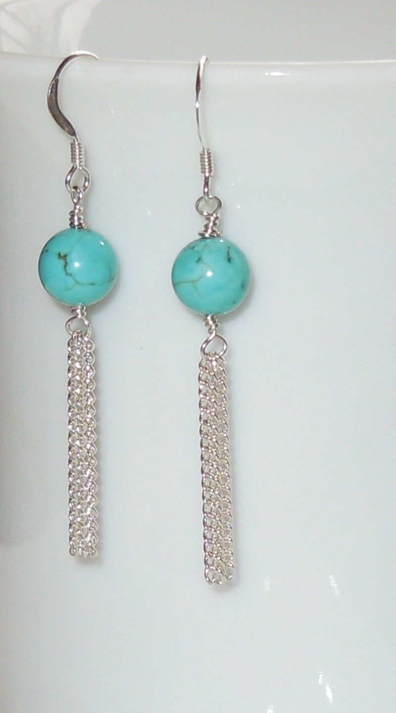 Genuine polished turquoise bead u silver chain earrings kolczyki