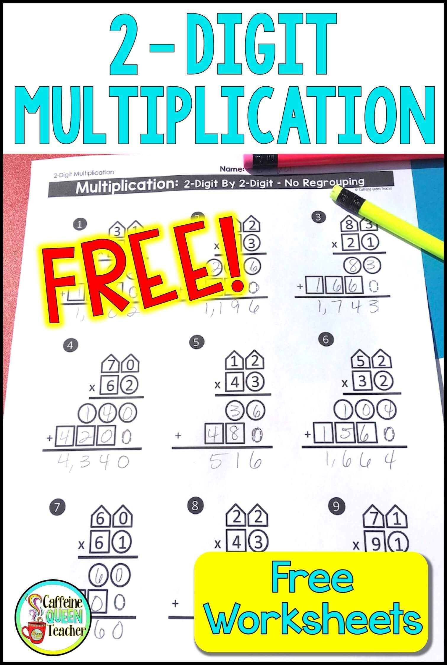 2 Digit Multiplication Worksheets Differentiated