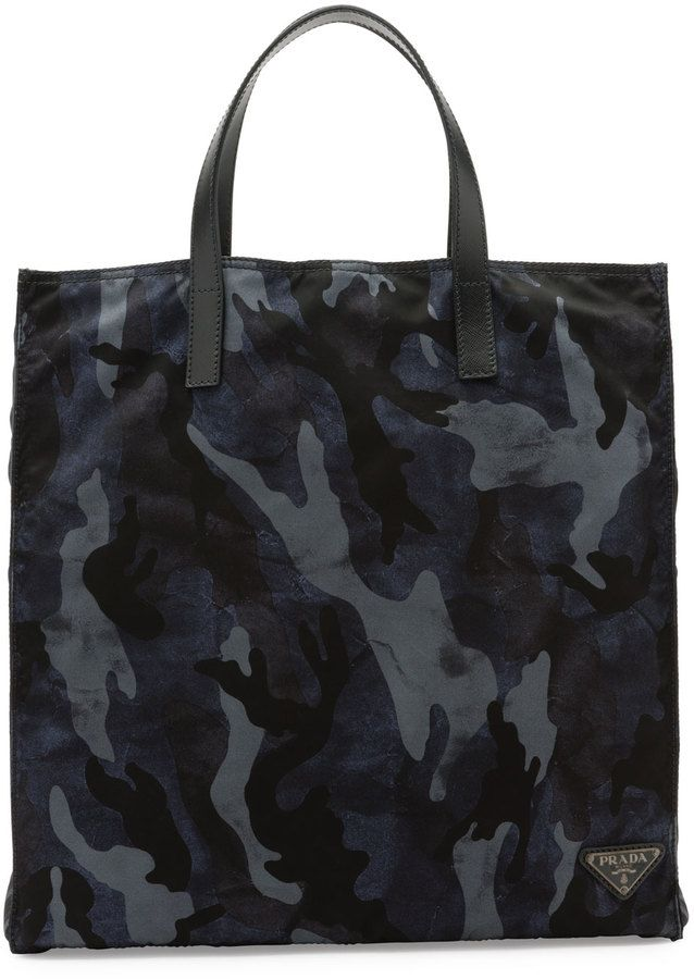 4b3a503f6ae4 Prada Camo-Print Nylon Tote Bag, Blue | Nylon bag concepts | Nylon ...