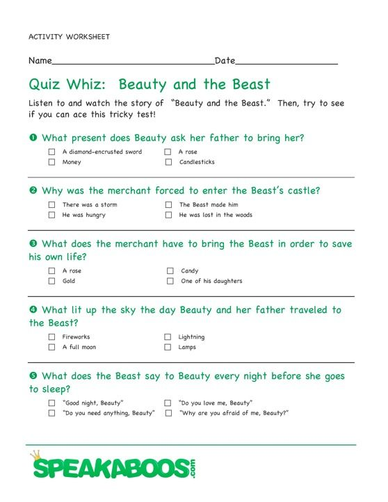 Quiz Whiz: Beauty and the Beast | Speakaboos #Worksheets #quiz ...