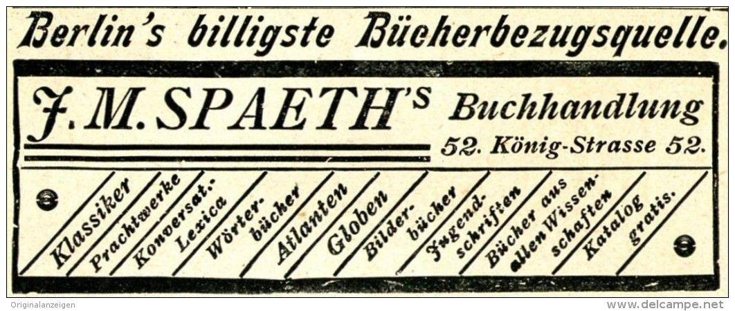 Original-Werbung/ Anzeige 1897 - SPAETH'S BUCHHANDLUNG - KÖNIG-STRASSE - BERLIN…
