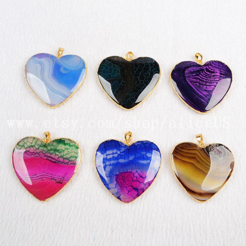 Gold Plated Heart Onyx Agate Pendant Bead Rainbow Natural Agate Druzy geode Pendant Gemstone Jewelry G0386-5 by aliceUS on Etsy