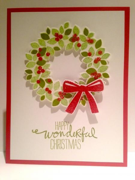 Happy Wonderful Christmas Wreath by Gosia Hoot - Cards and Paper Crafts at Splitcoaststampers