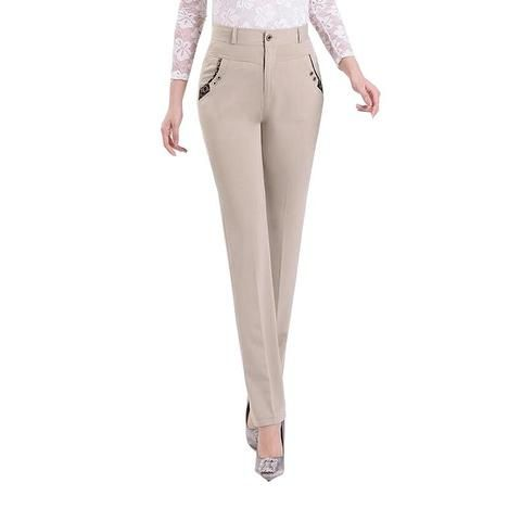 a6422309f1f New 2018 Summer Elegant Women Pants Lady High Waist Office OL Slim Straight  Pants Solid Color Trousers Plus Size 7XL