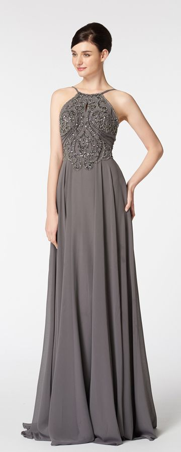 Halter Beaded Sparkle Backless Charcoal Grey Prom Dresses | Prom ...