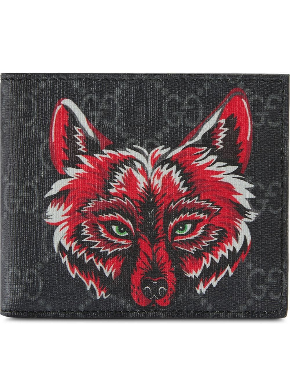 b78abeee408 GUCCI GUCCI GG SUPREME WALLET WITH WOLF - BLACK.  gucci