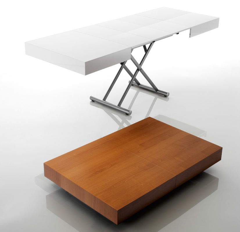 Tavolino Salotto Ciliegio.Tavolo Trasformabile Allungabile Box Multifunzione
