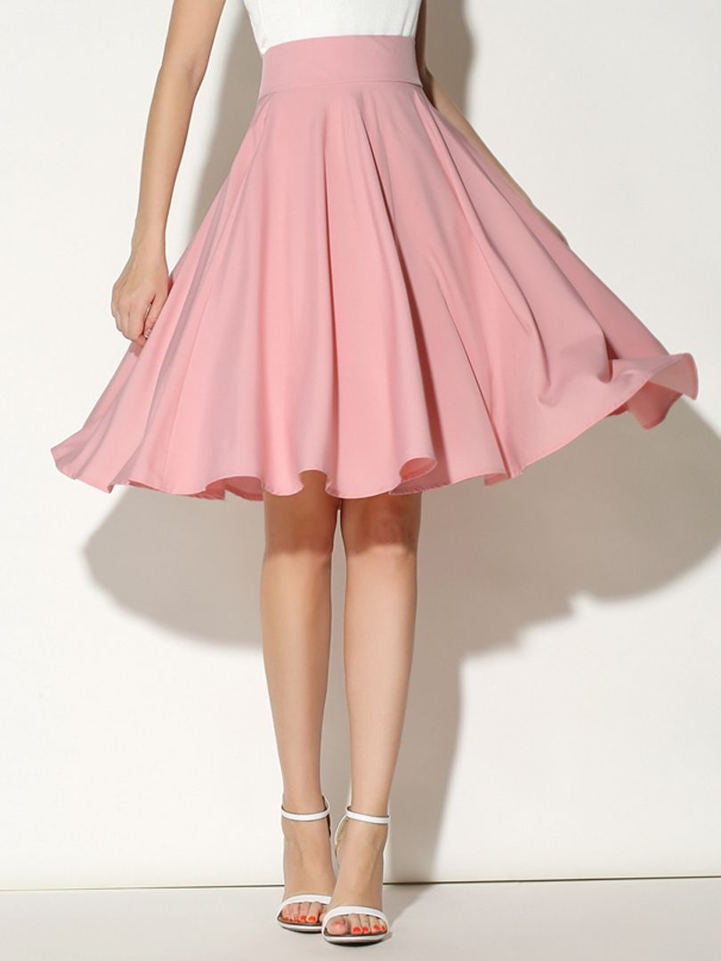 Pink High Waist Midi Skater Skirt- super cute! My friend Kylie ...