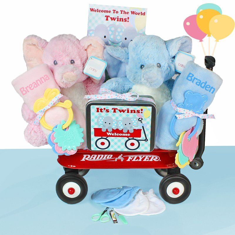 Cashmere bunny twins wagon gift basket nontwwgg