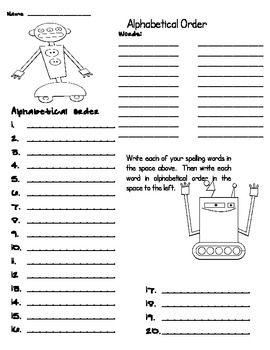 Robot Spelling Activites Spelling Word Activities Spelling