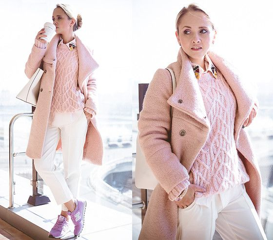 Choies Baby Pink Coat, Tommy Hilfiger Cable Knit Sweater, Choies Pants, Kate Spade Harmony Tote Bag, New Balance Sneakers
