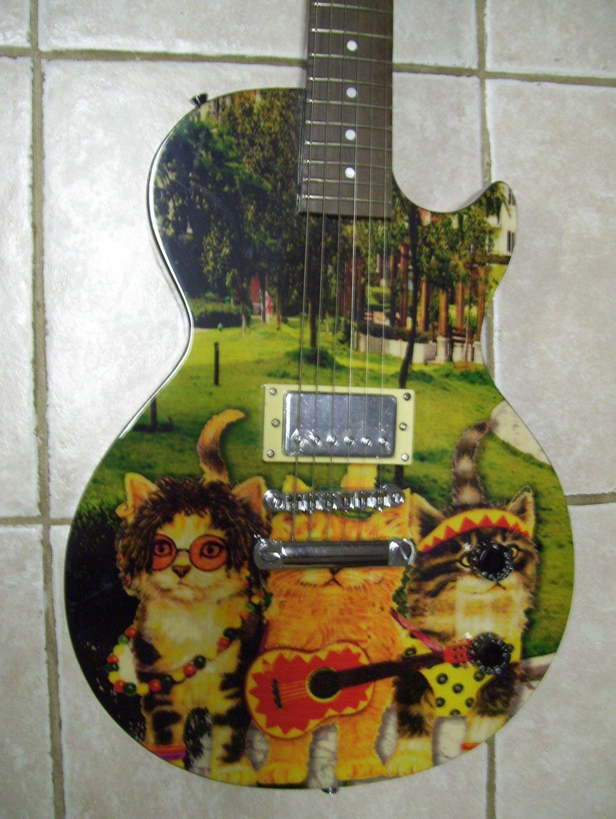Electric guitar unique custom painted Cat