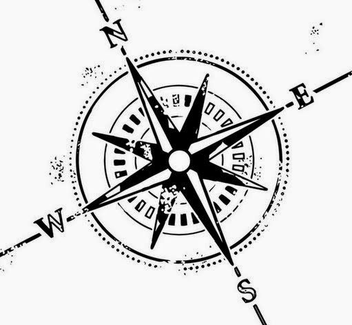 Black And White Compass Tattoo Design