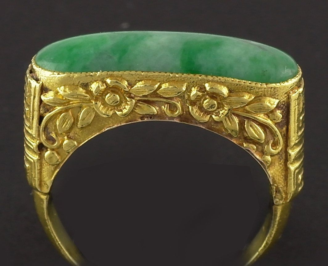 22K Gold Jade Ring 22 carat Chinese Gold Band Stunning