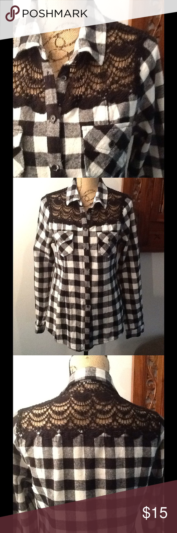 Flannel shirt black  Flannel and lace button down shirt  Lace button Flannels and Black