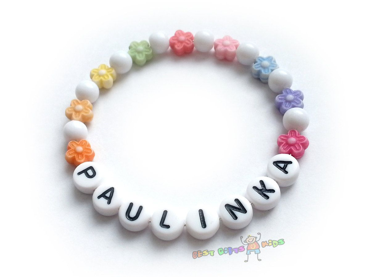 Personalized colorful floral girls name bracelet by bestgiftskids