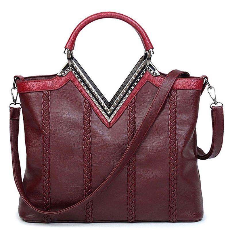 a0afa891f659 Baigio New Women Top-Handle Bag Shoulder Bag PU Leather Bolsas Femininas  Knitting Handbag Solid Tote Fashion Women Messenger Bag