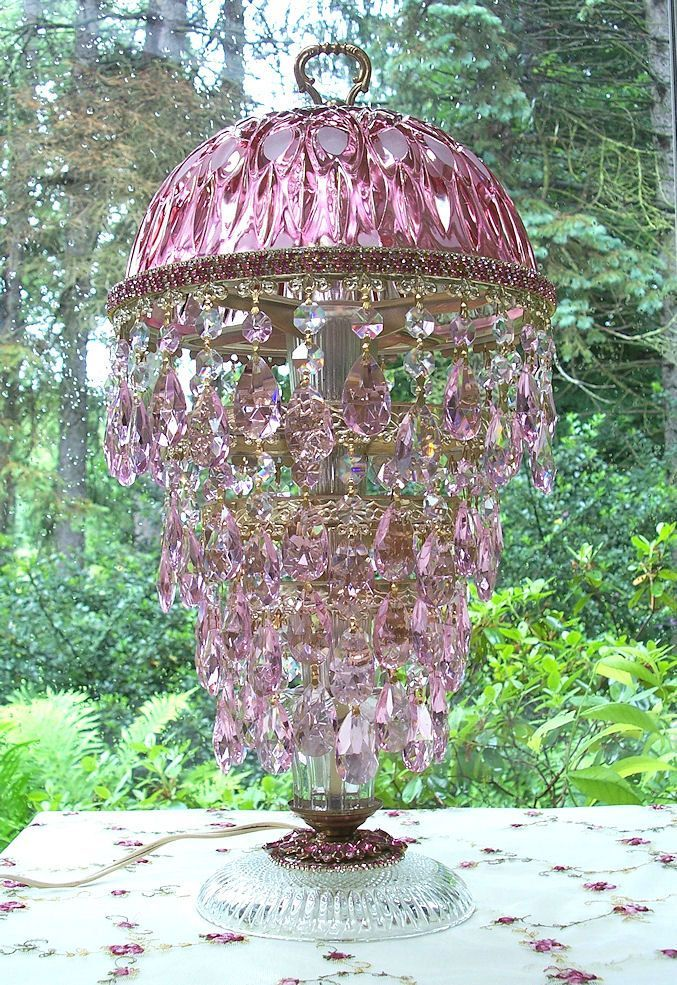 Vintage Jeweled Cranberry With Pink Crystal Waterfall Table Lamp