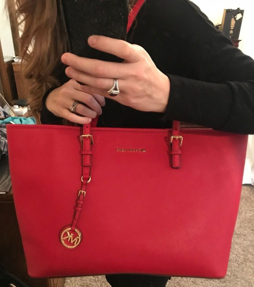 62e4d81e4d9f fashion NWT Michael Kors Jet Set Travel Medium Saffiano Leather Top-Zip Tote  -Bright Red