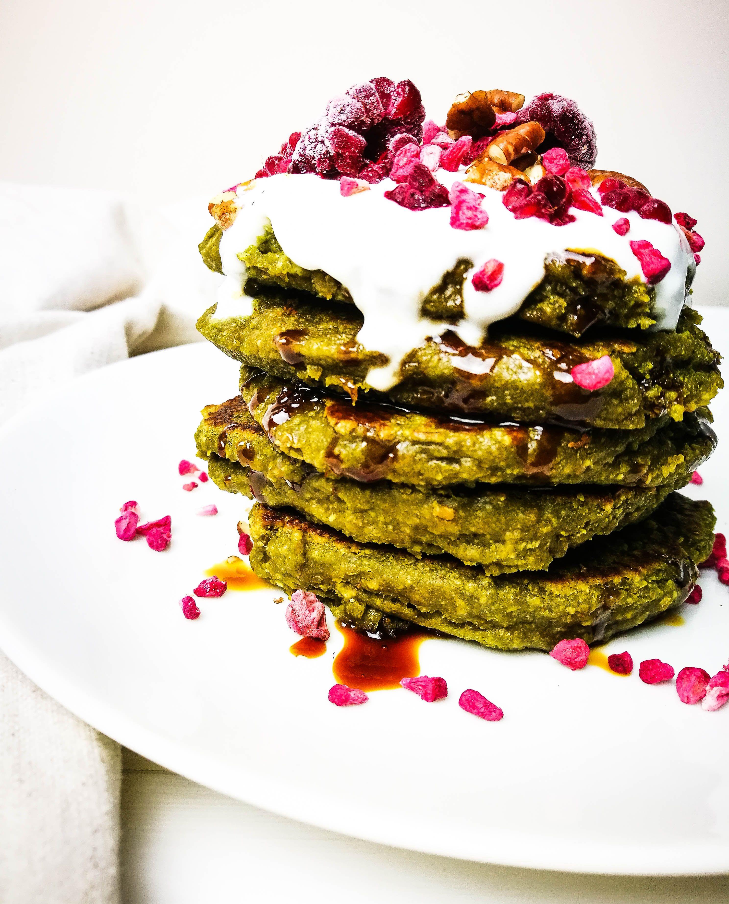 Matcha Green Tea Pancakes [Gluten-Free, Vegan]
