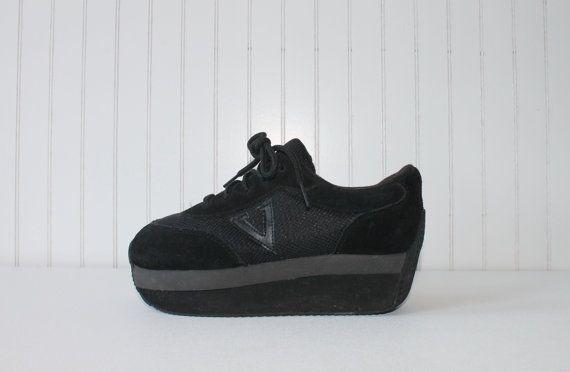 c357710438c3 90 s Shoes Platform Sporty Tennis Shoes Black Club by KatrajinaCo ...