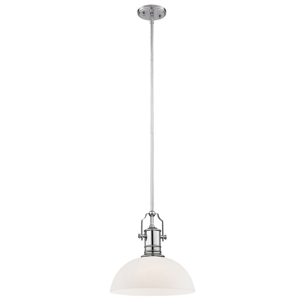 Industrial Chrome Pendant Light With White Glass 13 Inch Wide At Destination Lighting Chrome Pendant Lighting Pendant Light Fluorescent Light Bulb