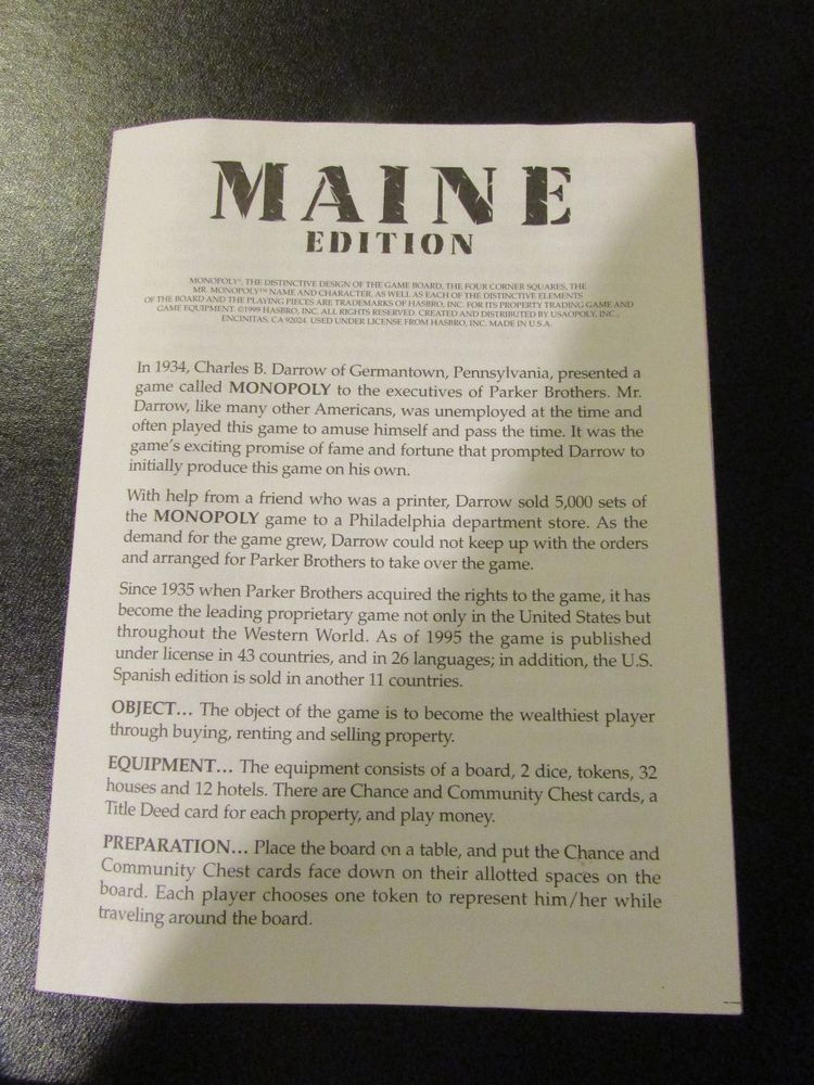 Monopoly Instructions State Of Maine Edition Board Game Parts