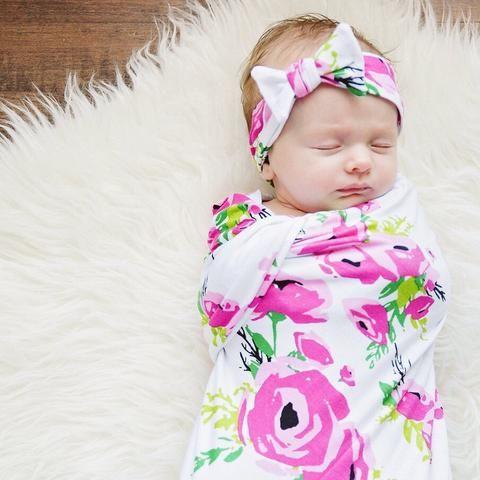Swaddle Set - Fuchsia Poppy Swaddle Blanket And Headband Set
