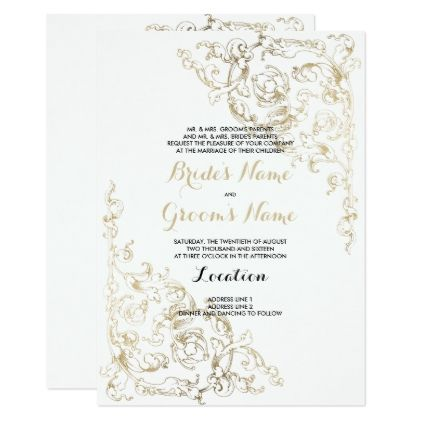 Vintage white faux gold floral damask wedding card stopboris Image collections