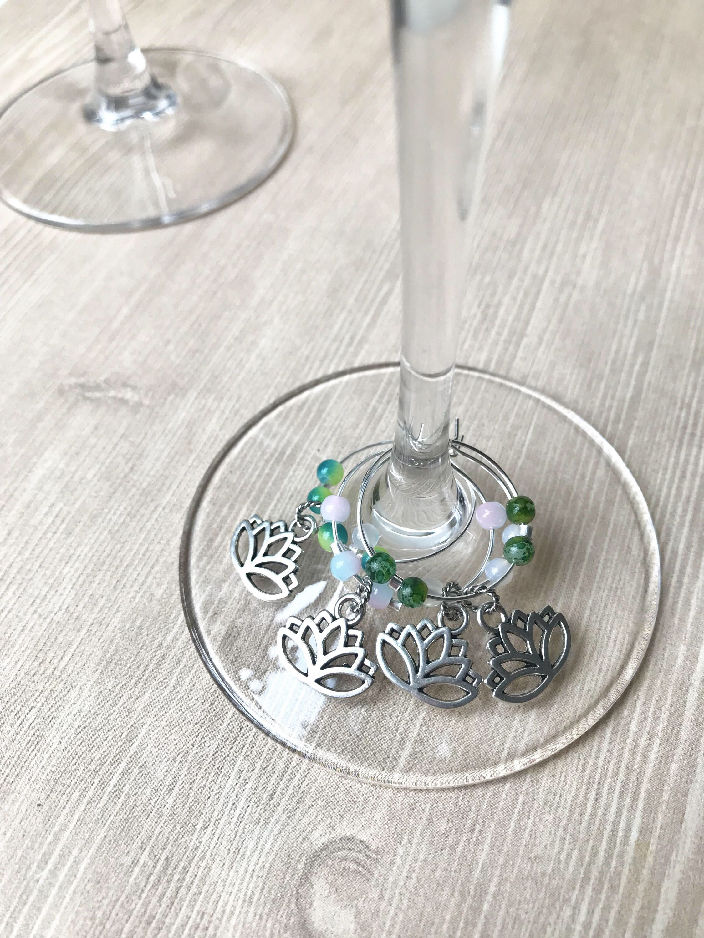 Lotus Charm Set, Wine Charm Set, Wine Glass Tags, Gift for Her ...