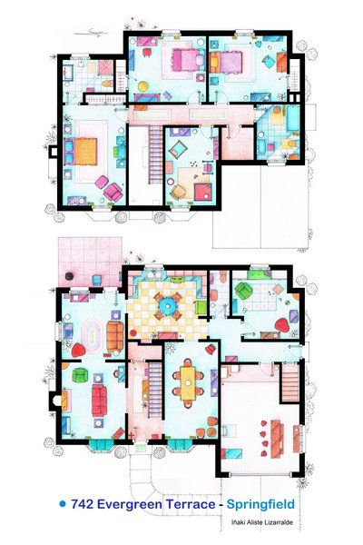 the simpsons – simpson's house floor plan (742 evergreen terrace