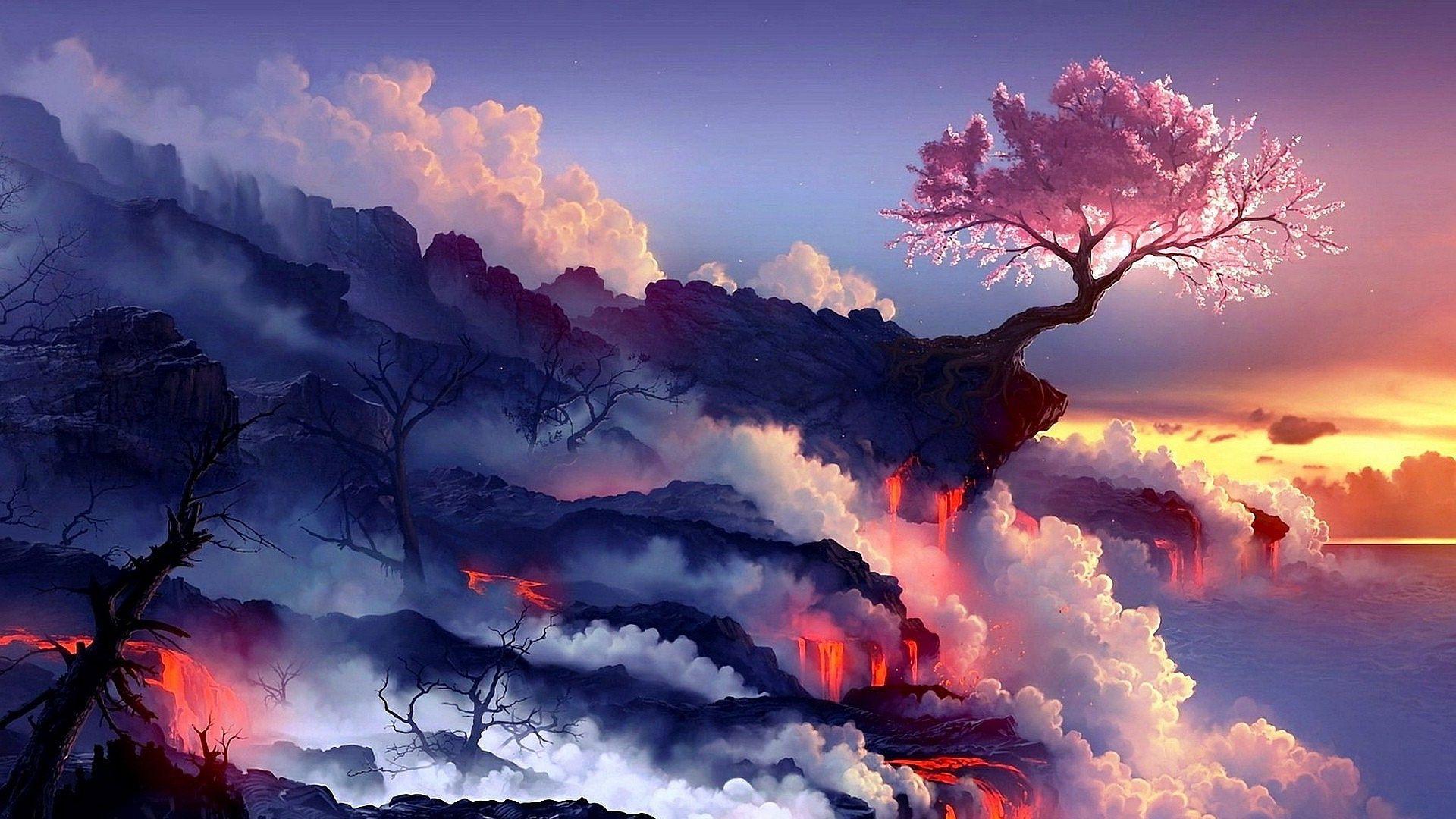 Cherry Tree Wallpaper Landscape Wallpaper Volcano Wallpaper Fantasy Landscape