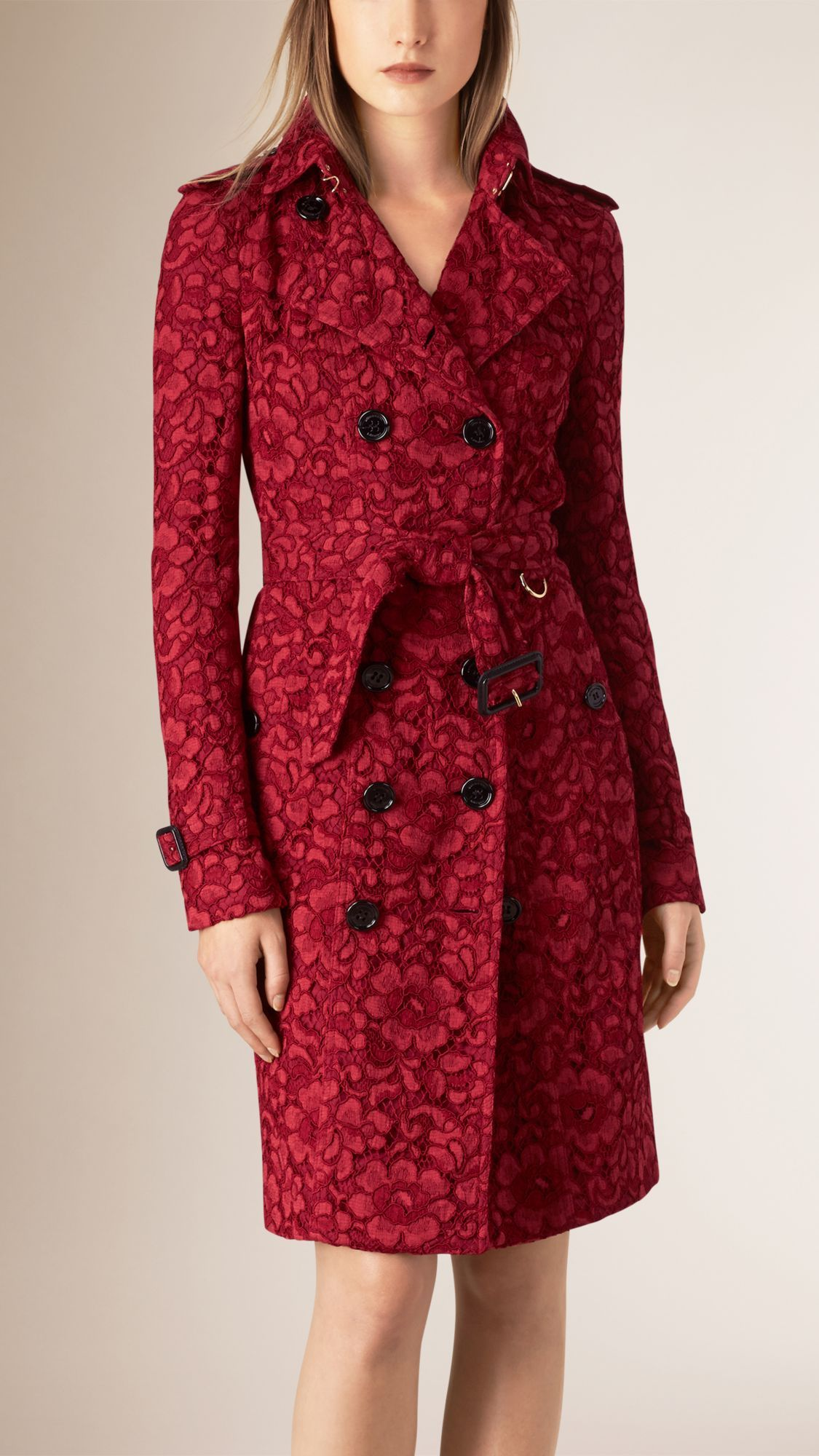 db89223062d Women s Trench Coats in Parade red French Lace Trench