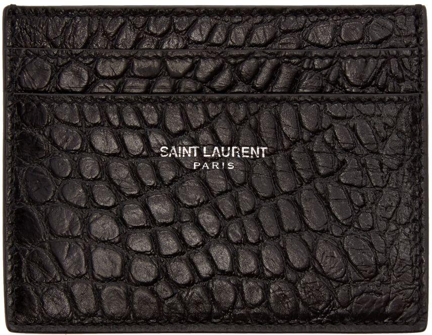 e0bd3fd65cc1 Saint Laurent  Black Croc-Embossed Card Holder