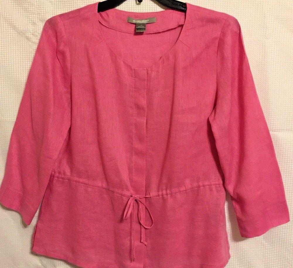 cb10b18a Ellen Tracy 100% Linen Peony Pink Tie Waist Button Down Tunic Top Blouse  Large | eBay
