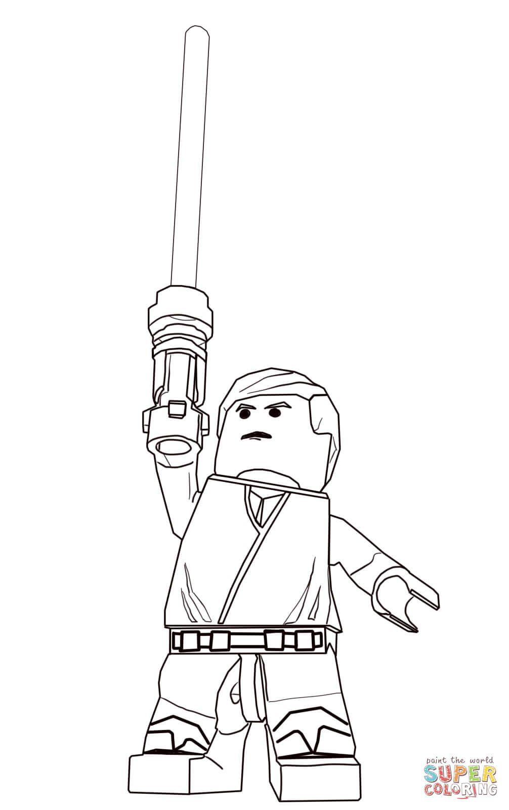 Lego Star Wars Luke Skywalker Super Coloring Lego Coloring Pages Star Wars Colors Star Wars Printables
