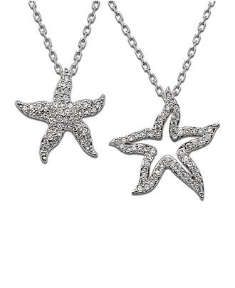 Swarovski starfish necklace sparklies pinterest starfish swarovski necklace crystal double starfish pendant jewelry watches macys aloadofball Gallery