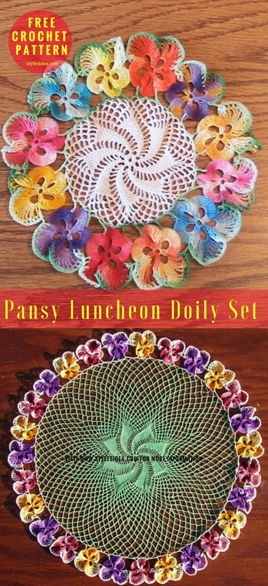 Pansy Luncheon Doily Set [Free Pattern | Tapetes de ganchillo ...
