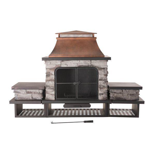 sunjoy connan steel wood burning outdoor fireplace in 2019 rh pinterest com